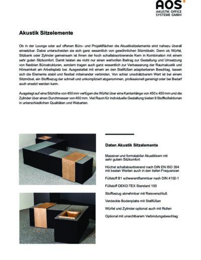 Datenblatt Akustik Sitzelemente