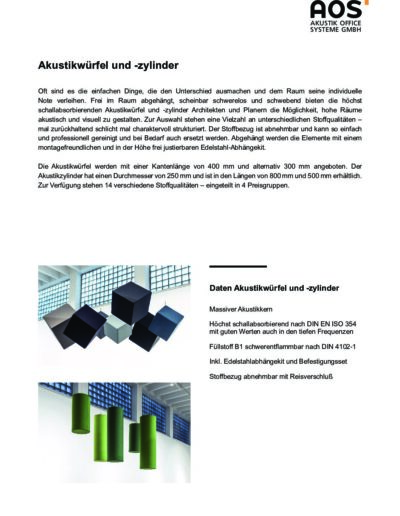 Datenblatt Akustikwürfel und -zylinder