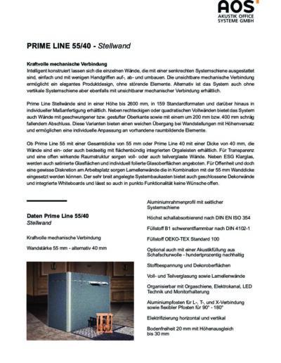 Datenblatt Prime Line Stellwand